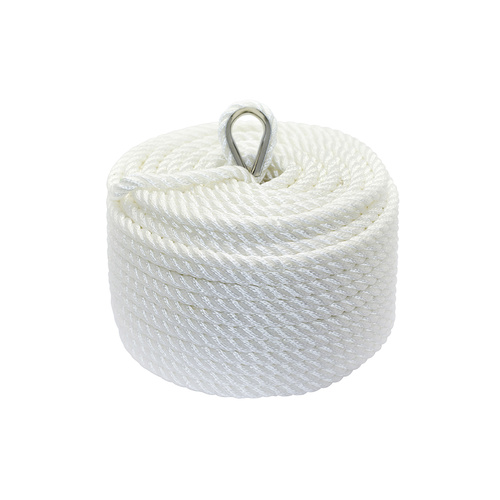 Nylon 3 Strand Twisted Anchor Line, White