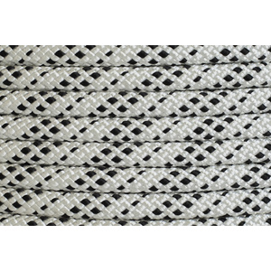 Polyester Double Braided Rope 8mm x 100m, White/Black Fleck