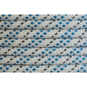 Polyester Double Braided Rope 10mm x 1m, White/Blue Fleck
