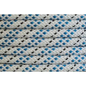 Polyester Double Braided Rope 12mm x 25m, White/Blue Fleck - to clear